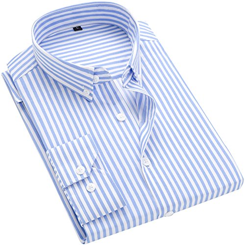 DOKKIA Men's Casual Long Sleeve Vertical Striped Slim Fit Dress Shirts (Light Blue White, Large) - Retro Shirt Pin