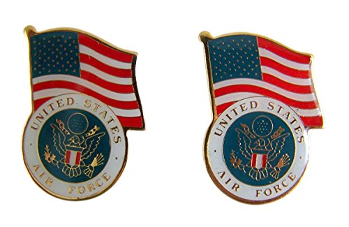 Patriotic US Air Force American Flag Gold Toned with Enamel Lapel Pin, Pack of 2