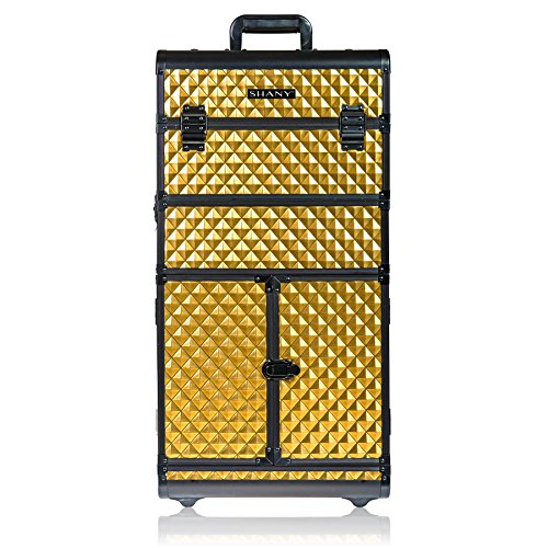 (SHANY REBEL Series Pro Makeup Artists Rolling Train Case - Trolley Case - Radiant Gold)