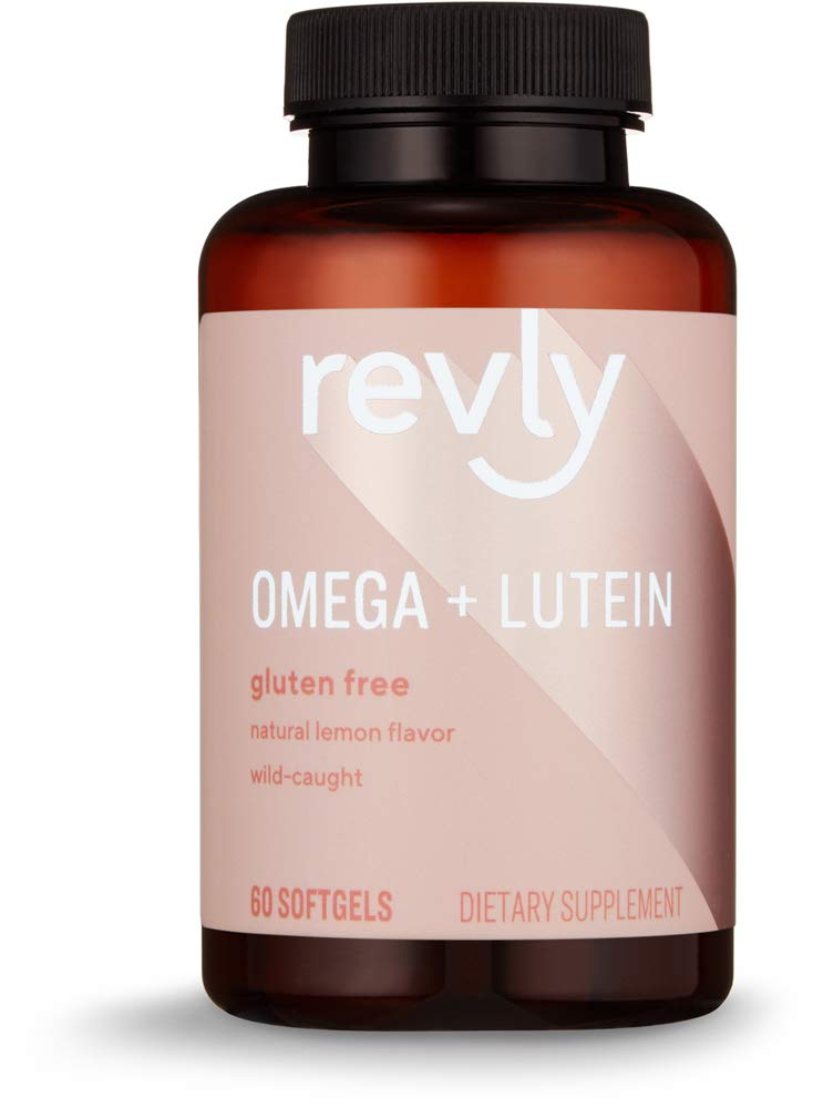Amazon Brand - Revly Omega + Lutein with Natural Lemon Flavor, Wild-Caught Fish Oil, 60 Softgels, 1047 mg Omega 3s per Serving (2 Softgels)