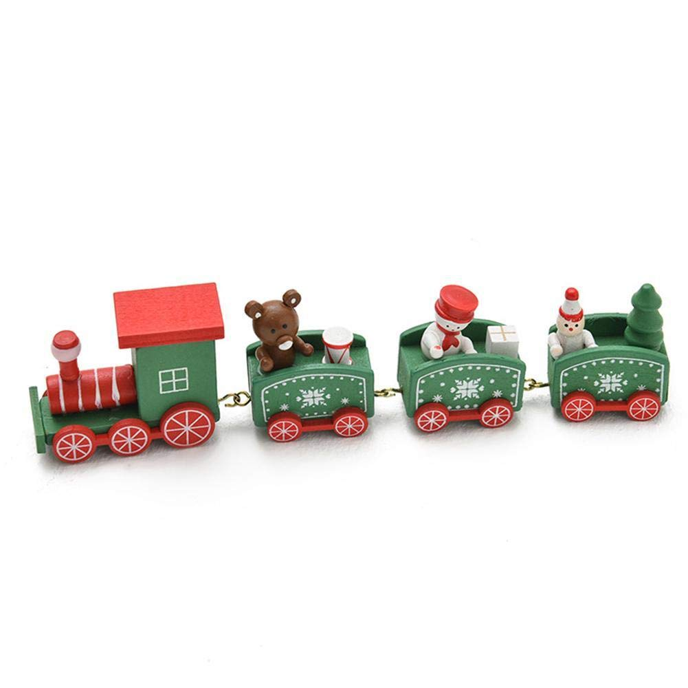 1 PC 4//5 compartimientos Mini Tren de Madera Lindo para el hogar Ni/ños Ni/ños Ni/ña Dibujos Animados Navidad Juguete Decoraci/ón de jard/ín de Infantes Adorno