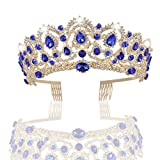 MACOIOR Wedding Tiara Crystal Rhinestones Tiara Crown with Comb Pageant Princess Crown (Blue)