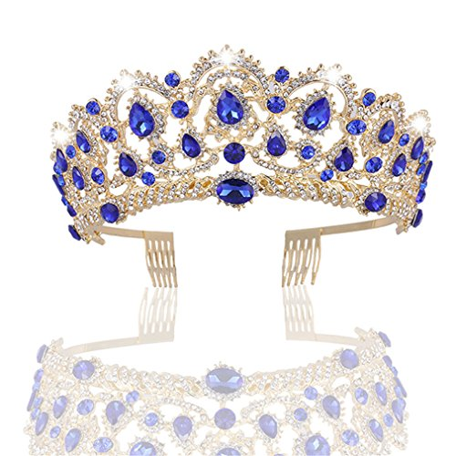 (MACOIOR Crowns Tiaras for Women, Baroque Royal Prom Queen Crown Rhinestone Crystal Bridal Crowns Tiaras with Comb Pageant Crowns Princess Crown)