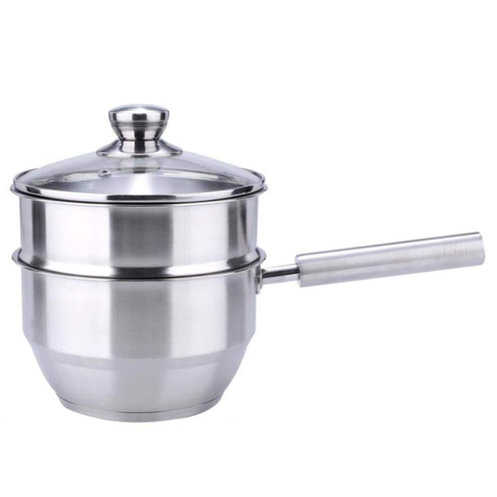 2 Tier Double Boiler Steamer,Saucepan Milk Pot Porringer Induction-Safe Stainless Steel Cooking Pan with Glass Lid Non-Stick
