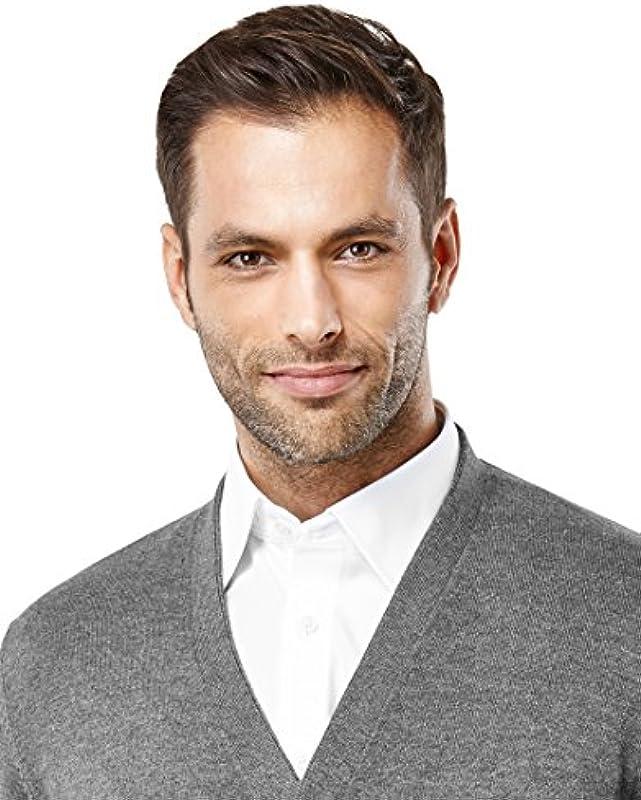 Vincenzo Boretti Męski sweter z dekoltem w kształcie litery V, dopasowany, taliowany, dzianinowy sweter z dekoltem w serek, jednokolorowy, mieszanka bawełny, elegancki, lekki, do pracy lub na co dzień: Odz