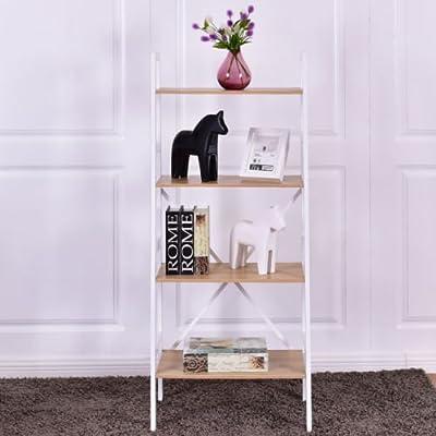Giantex Corner Shelf Wood Bookshelf Flower Plant Rack Ladder Bookcase Home Living Room Bedroom Bathroom Kitchen Office Study Furniture Wall Corner Stand Display Shelf Open
