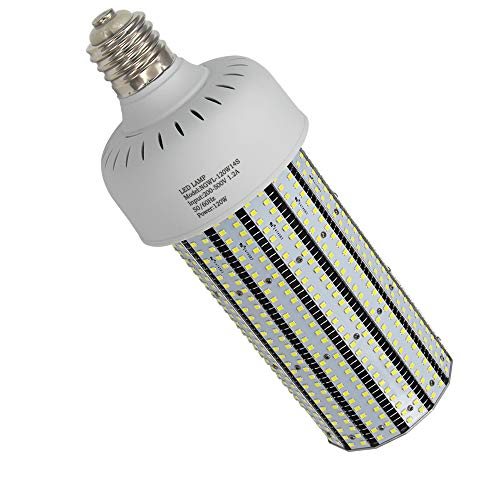480V LED Corn Cob Bulbs 120 Watt 5000K Daylight 347V for 400W Metal Halide HID Warehouse Street Light Replacement 277-480VAC Input E39 Mogul Base Shoe Box High Bay Retrofit ()