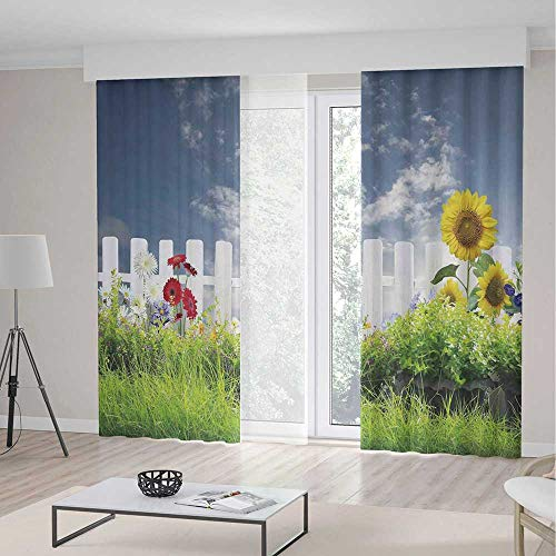 Daisy Morrow - TecBillion Window Blackout Curtains,Farm House Decor for Living Room,Grass Foliage Field with Sunflowers Daisy Hedge Fence Yard Jardin,79Wx94L Inches