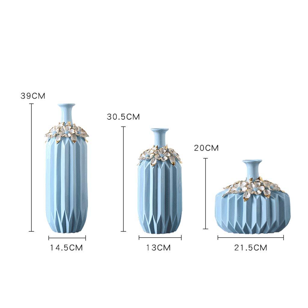 GAODUZI Vaso in Ceramica Decorazione Combinazione Soggiorno Decorazione Vaso Europeo Decorazione casa Moderna Semplice (Dimensioni   C-14.5  39cm)