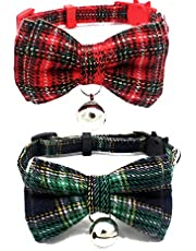 Vonper Cat Collar Breakaway with Cute Bow Tie and Bell for Kitty Dog Adjustable Collar