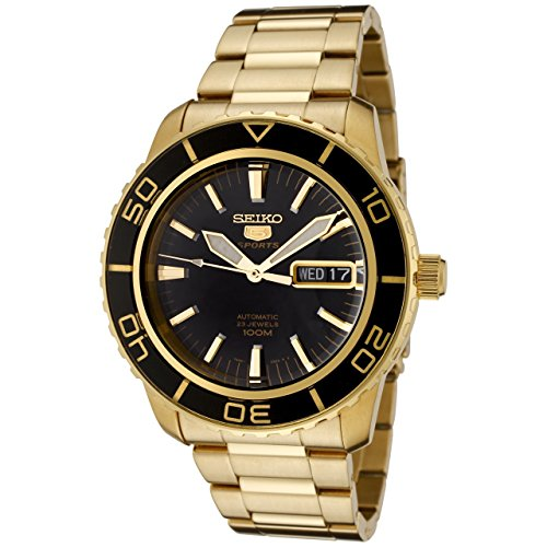- Seiko Men's SNZH60 Seiko 5 Automatic Black Dial Gold-Tone Stainless Steel Watch