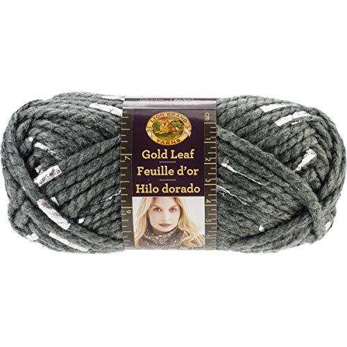 Lion Brand Yarn 231-149 Gold Leaf Yarn, Grey/Silver -