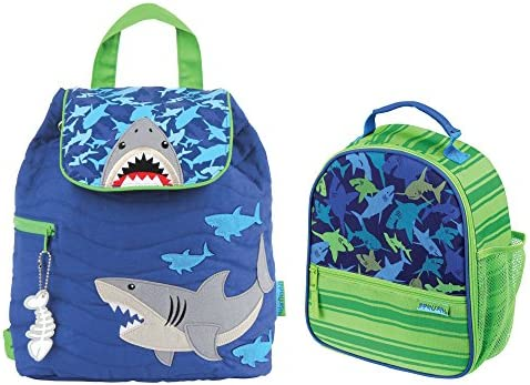 Stephen Joseph Quilted Shark Backpack and Shark Print Lunch Box