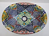 16'' TALAVERA SINK, drop in mexican bathroom sink, handmade ceramic, mexico folk art