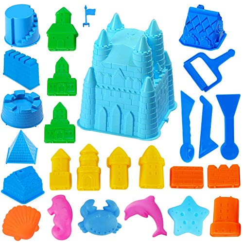 (Big Size Castle Style Molds for Play Sand Toys Molds Rock Construction Set Kit)