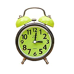 Alarm Clock for Bedrooms, Twin Bell Silent Desk Alarm Clock, Loud Kids Cute Silent Movement Alarm Clock for Kids, Boy Battery Operated Bedside and Desk Clock with Nightlight (Green)