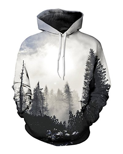 Price comparison product image Unisex Realistic 3D Print Galaxy Pullover Hooded Sweatshirt Hoodies with Big Pockets
