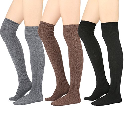 Tall Boot Socks - STYLEGAGA Winter Cozy Cable Knit Over The Knee High Boot Socks (One Size: XS to M, Cozy Cable_Basic 3Pair)