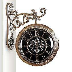 LANNA SHOP- European Retro Creative Wall Clock Living Room Hanging Silent Fashion Double sided Clocks