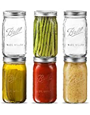 Ball Wide Mouth Mason Jar 32 oz [6 Pack] Wide Mouth Mason Jars With Airtight lids and Bands - For Canning, Fermenting, Pickling, Freezing - Microwave & Dishwasher Safe. Bundled With SEWANTA Jar Opener