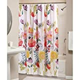 ot tubs - 1pc Girls Bohemian Floral Shower Curtain, Multiple Rose Bloom Printed Coral Red Yellow Purple Blue Leaf Nature Garden Themed, Polyester Colorful, Flowers Pattern Bathroom Curtain Tub