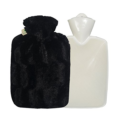 HUGO FROSCH, 1.8 L Classic Hot-Water Bottle with High-Pile Microfiber, Velvety Fur Look, Cover - Made in Germany (Black)