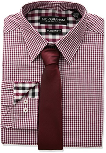 Nick Graham Men's Mini Gingham Check Dress Shirt with Solid Tie Set, red, 14.5