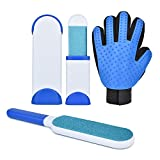 Slowton Pet Hair Remover Brush Grooming Glove Set, Double-Sided Reusable Lint Brush and Travel Size Brush with Self-Cleaning Base, Dog Cat Hair Remover Tool with Bonus Groom Glove (White&Blue)