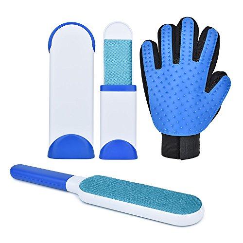 Slowton Conjunto de guantes para aseo, cepillo de aseo personal, cepillo de pelo reutilizable de doble cara y cepillo de...