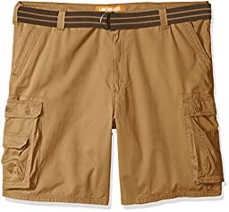 Lee Men\'s Big and Tall Dungarees New Belted Wyoming Cargo Short, Bourbon, 50W