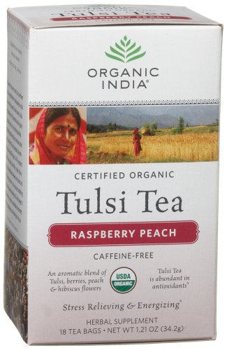Tea Raspberry Tulsi Peach (Organic India Tulsi Raspberry Peach, 18 Count Boxes (Pack of 6))