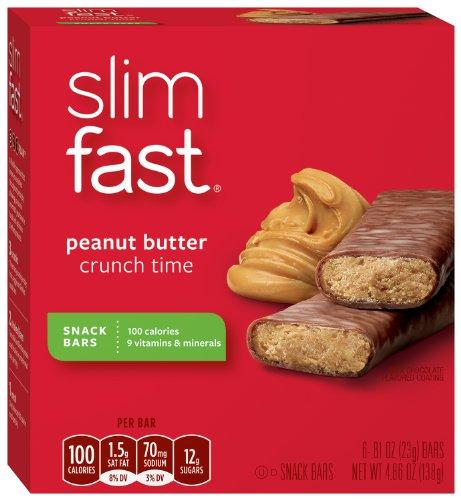 Slim-Fast 3-2-1 100 calories Snack bar, Peanut Butter Crunch Time, 6 ct (pack de 4)