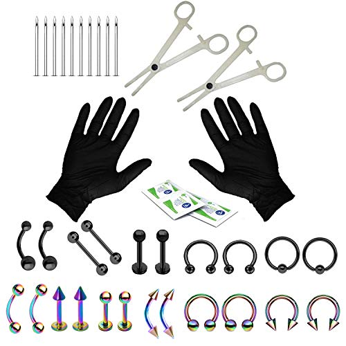 BodyJ4You 36PC PRO Piercing Kit Black Rainbow Steel 14G 16G Belly Ring Tongue Tragus Nipple Nose