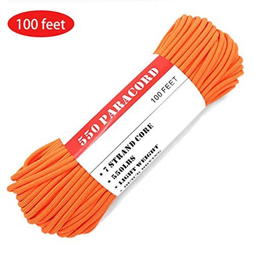BENGKU Camping Paracord Outdoor Survival Mil-SPEC 550lb Paracord/Parachute Cord(MIl-C-5040-H),100Feet,100% Nylon. (Orange, 100) by BENGKU (Image #6)