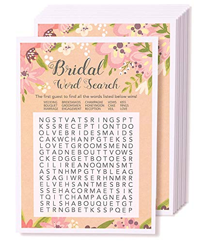 Floral Bridal Shower Games - Word Search Puzzle, 50 Sheet Rustic Wedding Game Cards, Party Supplies for Bachelorette Party and Wedding, 50 Vintage Cards Included, 5 x 7 Inches, Pink