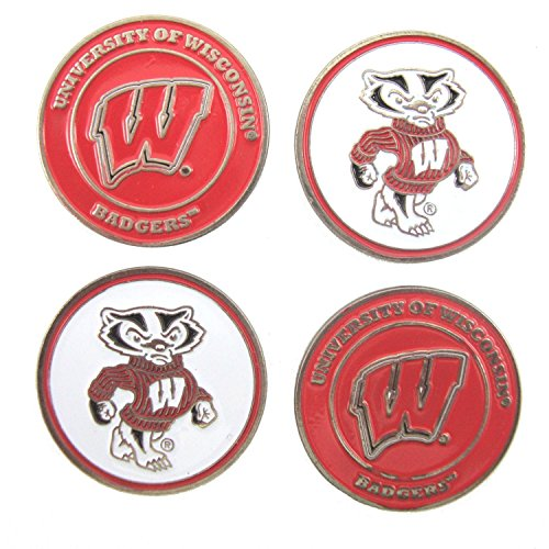 Wisconsin Badgers NCAA Double SidedGolf Ball Markers (4 Pack)
