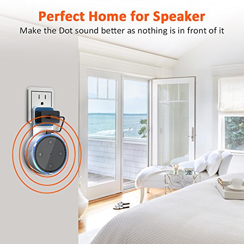Matone Outlet Wall Mount Hanger Stand for 2nd Generation & Mi AI, A Space-Saving Solution for Your Smart Home Speakers Without Messy Wires or Screws – White
