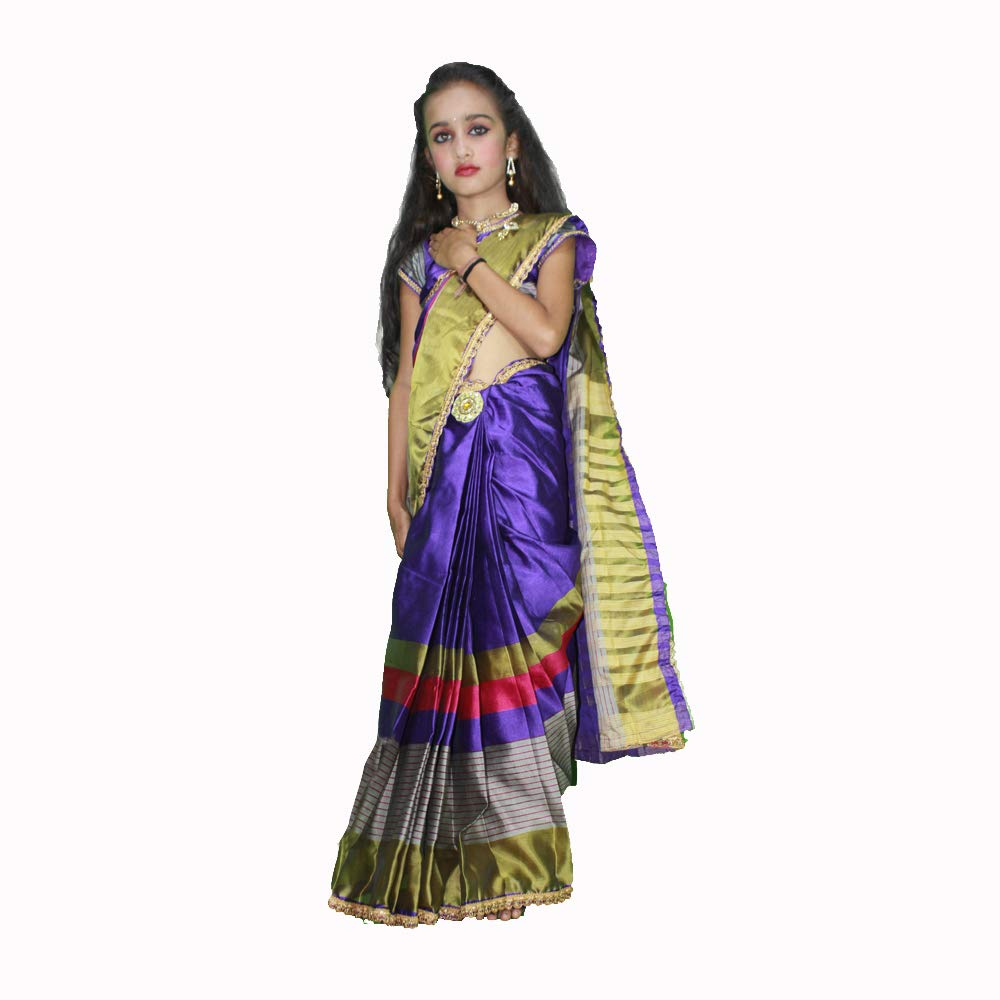 Buy Kumari Fashion Collection Stitched Designer Saree With Stitched Blouse For Kids At Amazon In