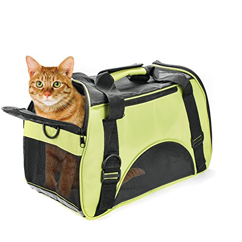 Huanxu Pet Carrier for Small Dogs, Cats, Puppies, Kittens Airline Approved Under Seat Soft Sided Travel Bags Under Size 17.3″ X 7.9″ X 9.8″(Green)