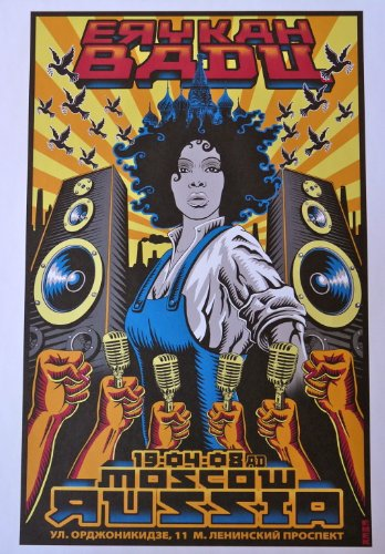 Erykah Badu - Live in Moscow 2008 - Concert Gig Poster - 10