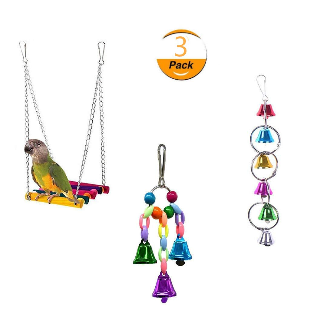 AiMiiNiii Bird Rope Swing, Bird Toys Hanging Bell, Wooden Budgie Toys Pet Bird Cage Hammock Swing Hanging Toy for Small Parakeets Cockatiels, Conures, Macaws, Parrots, Love Birds, Finches (3 Pack)