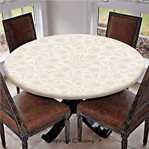 Elastic Edged Polyester Fitted Table Cover,Baroque Style Curved Leaves and Floral Blooms Artistic Nature Beauty Kitsch Design Motif,Fits Tables up to 36