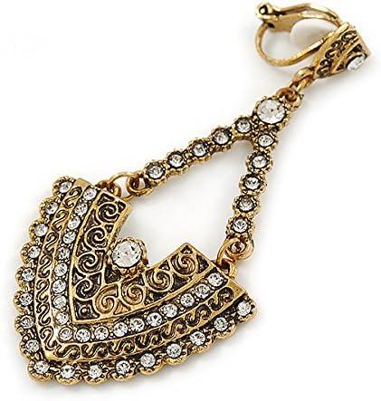 Vintage Inspired-Boucles d/'oreilles pendantes en m/étal dor/é vieilli L/60/mm