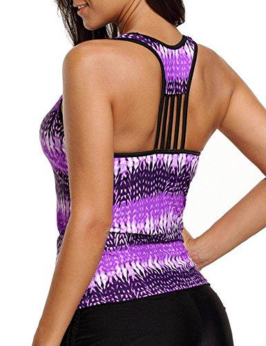 - CICIDES Womens Sexy V Neck Stripe Tank Top Striped Swimsuit Tankini Tops Racerback Tankini Swimsuit Swimwear Purple XX-Large Plus Size for Women