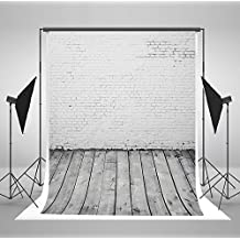 7x10 ft White Brick Wall Photo Backgrounds Light Gray Wood Floor Wrinkle free Photography Backdrops wd1135b