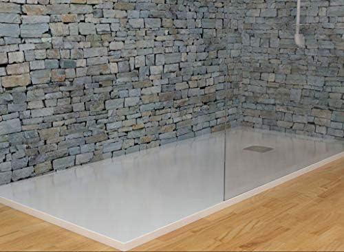 MASAL TECH DESING - Plato de ducha, textura PIZARRA BLANCO 100x80 cm, antideslizante y de fácil colocación.: Amazon.es: Bricolaje y herramientas