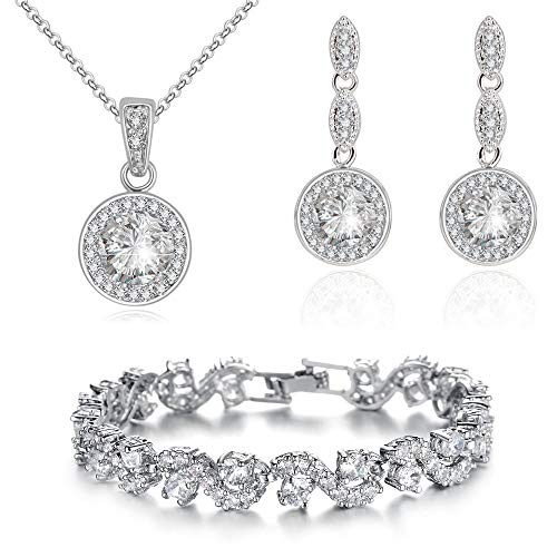 Wedding Round Set White Zirconia Austrian Crystals Pendant Necklace 18