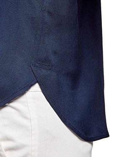 Courtes Chemisier Manches 7900n Ultra avec en Bleu Viscose oodji Femme aqAEf0RwE6