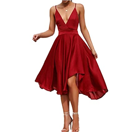 1f9e4986699 Amazon.com  CHoppyWAVE Womens Chiffon Spaghetti Strap Deep V Neck Backless High  Slit Maxi Beach Dress