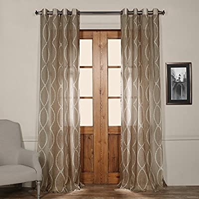HPD Half Price Drapes SHCH-PS16071-120-GR Grommet Printed Sheer Curtain (1 Panel), 50 X 120, Grecian Taupe - Sold per panel 100Percent polyester Finished with 8 Nickel finish grommets (1-1/2Opening) - living-room-soft-furnishings, living-room, draperies-curtains-shades - 51CF2JHSH6L. SS400  -